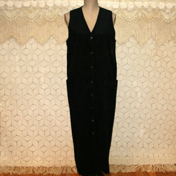 Vintage Black Corduroy Dress Long Jumper Button Up Dress Medium Eddie Bauer Sleeveless Maxi Vintage Dresses Women Dresses Womens Clothing