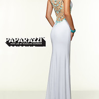 Long Mori Lee Prom Dress with Beaded Back