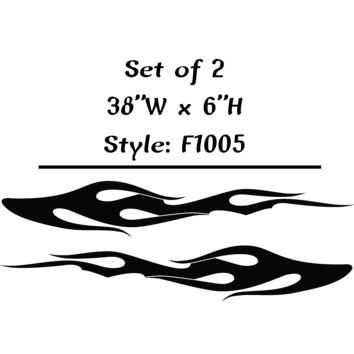 "Vehicle Tribal Flames Vinyl Decal Sticker Car Truck Boat Graphics Racing - STYLE F1005 -Set of (2) 38""W X 6""H"