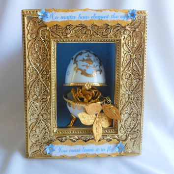 Inspirational Art Shrine, Shadow Box, Words of Encouragement, Beautiful Egg and Rose, Mixed Media Art, Assemblage