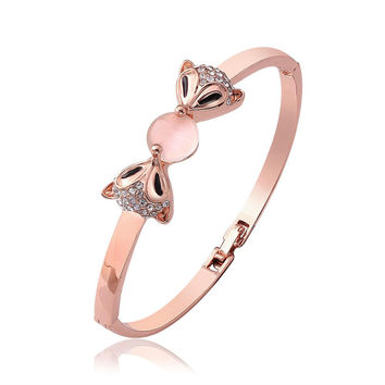 18K Gold Cute Bunnies Bangle with Swarovski Elements