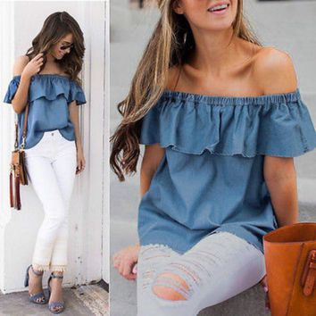 2017 Women Summer Vintage Off Shoulder Ruffles Sleeveless Loose Denim Tops Blouse Casual Shirt Jeans Blouse Top Outfit Sunsuit
