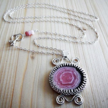 Pink Rhodochrosite and Sterling Silver Pendant, Stalactite Slice Handmade Unique Designer Statement Boho Necklace Ready to Ship Gift for Her
