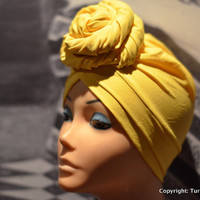 Yellow Turban | PRESEWN Yellow Head Wrap | Ready To Wear Headwrap | African Head wrap cap I Pret A Porter African Style Headtie Turban Cap