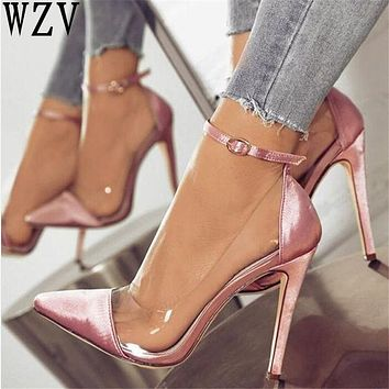 2018 jelly clear chaussure bride sexy women pump zapatos mujer thin high heels ankle buckle ladies wedding shoes woman sapato