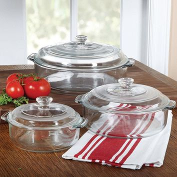 6-Piece Round Glass Casserole Cookware Bakeware Set with Lids
