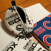 Chicago Baseball Baby Shower Nursery Gift White Sox or Cubs Burp Cloths Pacifier Pouch Pods Pee Pee Tee Pees Fabulous Baby Shower Gifts!