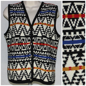 80's 90's Wool Vest Vintage Aztec Western Indian Native Hipster Small Colorful Sweater Pewter Buttons A46