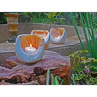 Set of 3 Alabaster Oval 'Torch' Candle Cylinders (Egypt) | Overstock.com