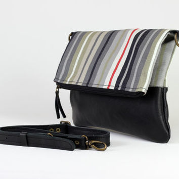 Striped Bag with Genuine Black Leather Foldover Bag  Adjustable Removable Leather Strap Leather Tote Bag Clutch Foldover Crossbody Bag