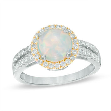 8.0mm Lab-Created Opal and White Sapphire Frame Split Shank Ring in Sterling Silver and 14K Gold Plate - Size 7