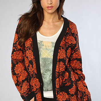 Insight Falling Pixies Cardigan Women Neon Red