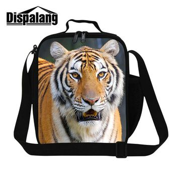 Dispalang 3D tiger printing thermal insulated lunch bag patterns for boys kids food bag personalized lunch bags for men lunchbox