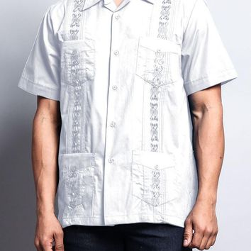 Men's Short Sleeve Cuban Style Guayabera Shirt 2000-1 (White)