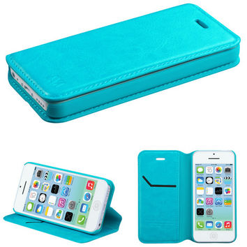Book-Style Leather Flip-Stand Wallet Case for iPhone 5C - Blue