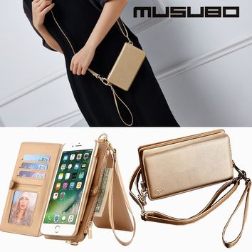 Musubo Brand Fashion Girl Leather Case For iPhone X 7 Plus Luxury Women Wallet Phone Bag Flip Case Cover for iphone 8 Plus 6 6s