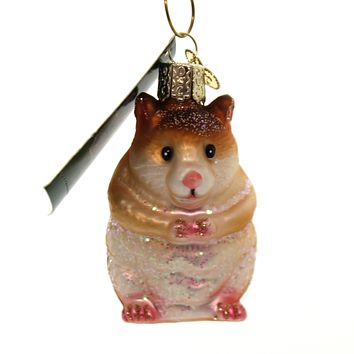Old World Christmas HAMSTER Glass Fury Rodent Ornament Pet 12530