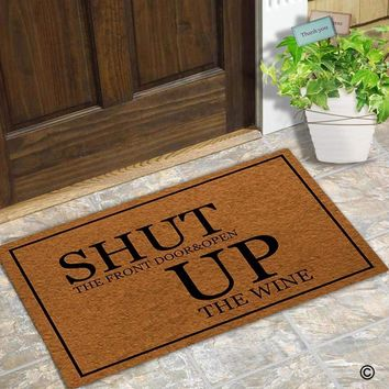 Autumn Fall welcome door mat doormat  Entrance Floor Mat Funny  Shut The Front Door & Open Up The Wine  Decorative Indoor Outdoor  AT_76_7