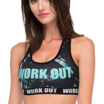 Zohra Women Flexible Fitness Bra Work Out Turquoise Brush Printing Fashion Cozy Tops Breathable Woman Short Clothes