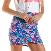 Tropical Print Ruched Mini Skirt by Charlotte Russe