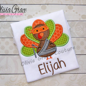 Boys Thanksgiving Shirt, Ninja Turkey Boy Embroidered, Applique Bodysuit or Shirt