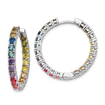 Sterling Silver Colorful Rainbow In and Out Hoop Earrings