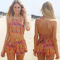 Vintage Women Straps Sunflower Print Jumpsuits Hot Pants Playsuit Shorts Rompers womens jumpsuit