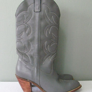 Vintage Grey Leather Women's Cowboy Boots Stacked Wood Heel 7.5 / 7