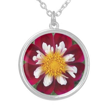 Red Collarette Dahlia Floral Silver Plated Necklace