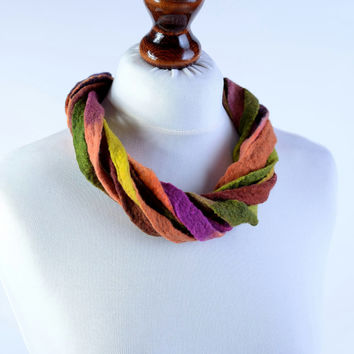 Fiber multi strand necklace in autumn colors - fall felt necklace with twisted design, twist, multistrand, wool jewelry [N127]