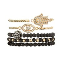 Mystical Beaded Stretch Bracelets - Five Pack - Black