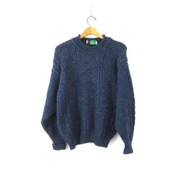 Chunky IRISH Knit Fishermen Sweater Blue Preppy Pullover Boyfriend WOOL Knit Cable Knit Sweater Unisex Men's size Large