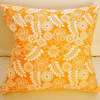 Orange & White Pillow Cover 18x18 Envelope in Pumpkin Orange