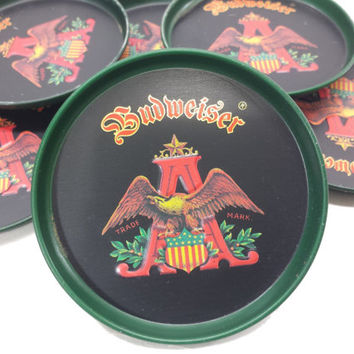 Vintage Budweiser Coasters, Collectible Beer Coasters, Anheuser Busch Logo, Vintage Beer Advertising, Man Cave Bar Decor Gifts