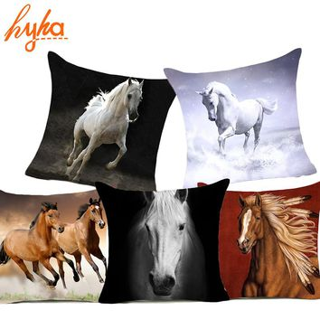 Hyha Horses Polyester Cushion Cover Steed Animal War Horses Home Decorative Pillow Cover for Sofa Car Nordic 45x45cm Vintage