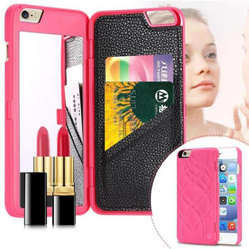Women Girl PU Leather Case For iPhone 6 6S / Plus + Dual Layer Card Slot Wallet Mirror Stand Phone Case Cover For iPhone 6 6S