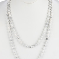 Gray natural stone bead extra long wraparound  necklace
