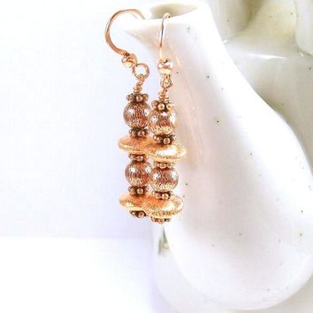 Copper Earrings, Beaded Dangle Earrings, Beaded Jewelry