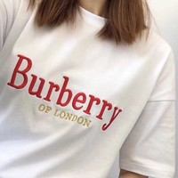 Burberry 2019 new embroidered letters men and women wild short round neck shirt White