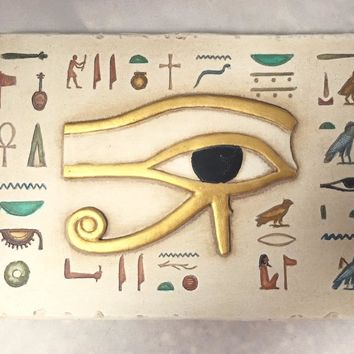 Eye of Horus Egyptian Symbol of Good Luck Wall Small Relief 6.5W