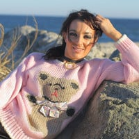 Hand knit pink Teddy Bear sweater