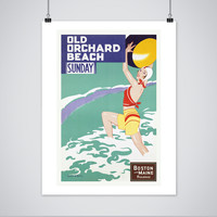 Old Orchard Beach Poster - Vintage Maine Travel Print