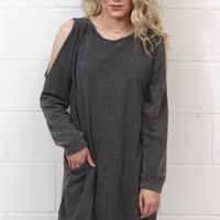 Mineral Wash Cutout Sleeve Tunic {Ash} EXTENDED SIZES
