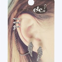 Pave Wing Cuff Earring Pair