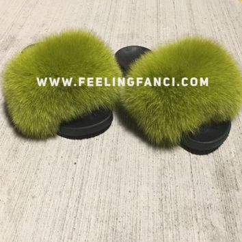 Lime Green galore fox fur slides
