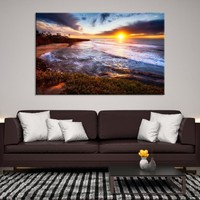 72688 - Sunset on Glassy Ocean Landscape Wall Art Canvas Print