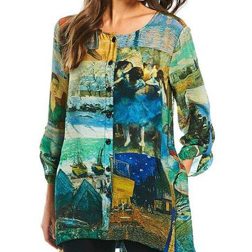 Printed Long Roll Tab Sleeve Decorative Button Front Blouse