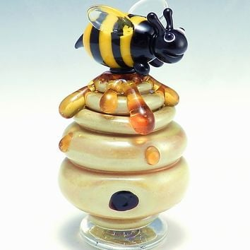 Beehive Perfume Bottle by Garrett Keisling: Art Glass Perfume Bottle | Artful Home