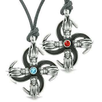Supernatural Dragon Amulet Powers Love Couples or Best Friends Red Sky Blue Crystals Adjustable Necklaces