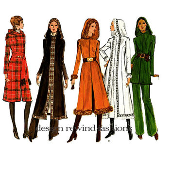 1970s VOGUE HOODED COAT Pattern Vogue Long Coat, Pants Trousers Pattern Vogue 2565 Basic Design Vintage UNCuT Womens Sewing Patterns Bust 34